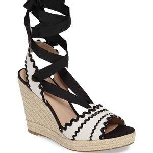 Kate Spade Ivory Black Wedge Espadrille Sandals